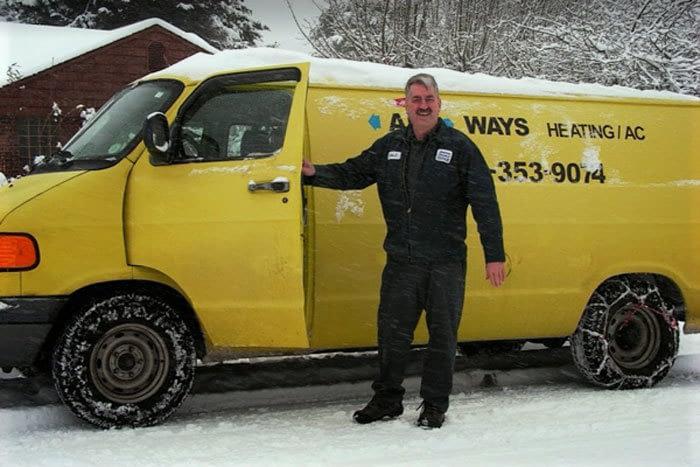 owner with work van